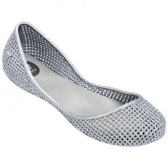 AMORA silver flat closed ballet flats for woman