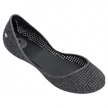 AMORA black and silver flat closed ballet flats for woman