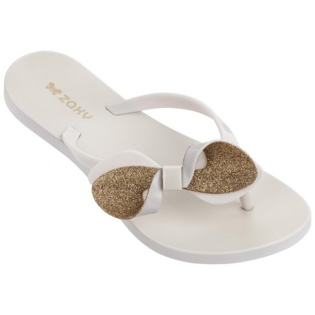 FRESH TRIP beige flat finger flip flops for woman