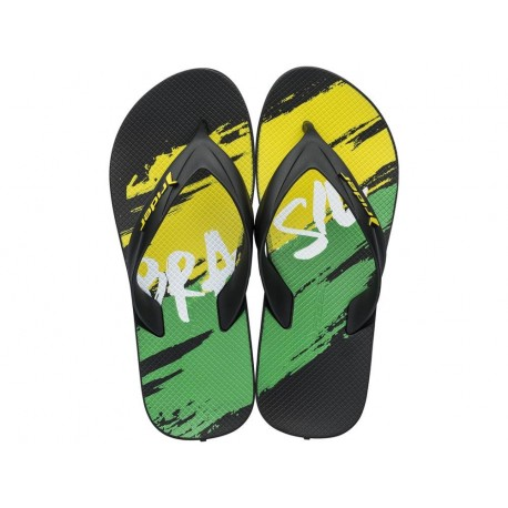WORLD CUP 2018 black and green geometric shapes print flat finger flip flops for man