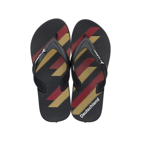 WORLD CUP 2018 black and red geometric shapes print flat finger flip flops for man