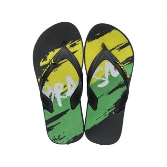 WORLD CUP 2018 black and green geometric shapes print flat finger flip flops for child