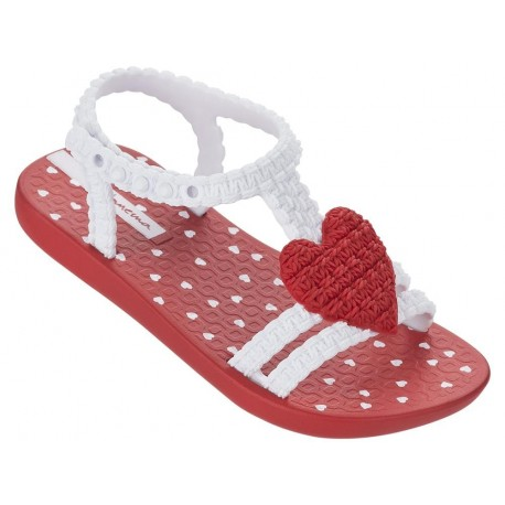 MY FIRST IPANEMA BABY red and white fantasy print flat open sandals for baby
