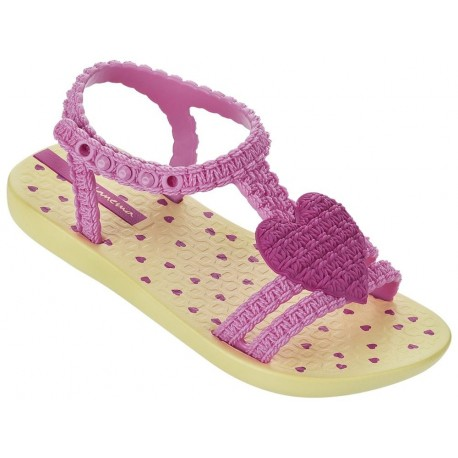 MY FIRST IPANEMA BABY pink and yellow fantasy print flat open sandals for baby