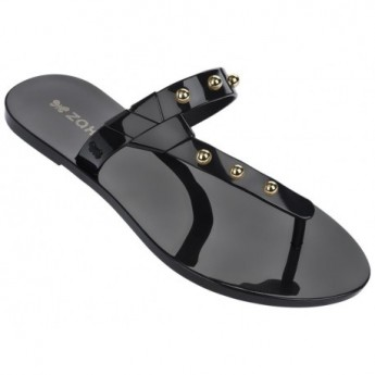 SPIKE black flat finger flip flops for woman