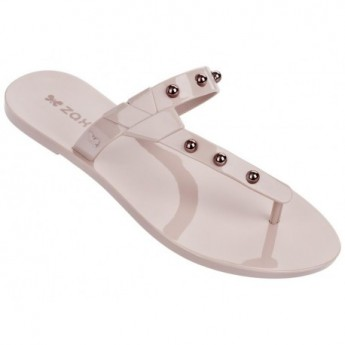 SPIKE nude flat finger flip flops for woman