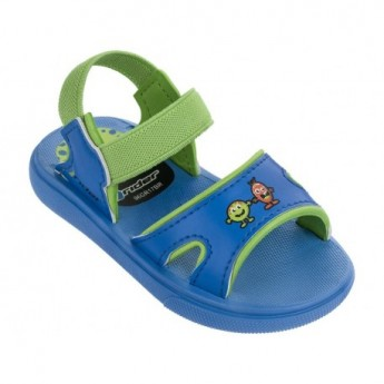 BASIC blue and green flat roman sandals for baby