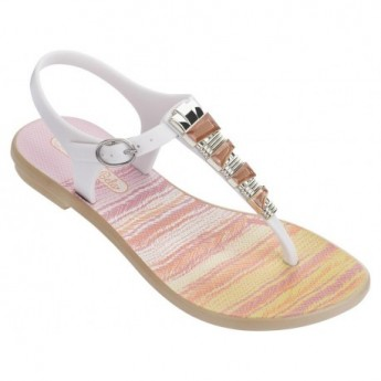 JEWEL II pink and white geometric shapes print flat finger sandals for child