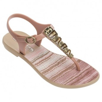 JEWEL II brown and pink geometric shapes print flat finger sandals for child