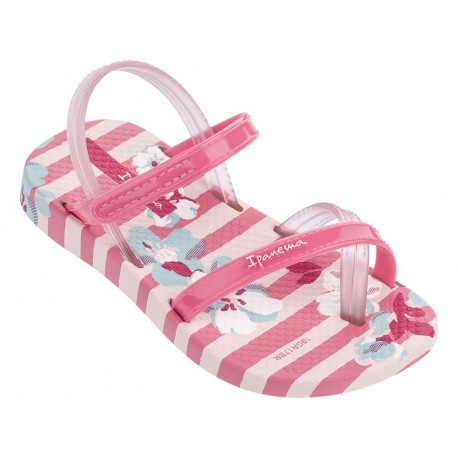 FASHION VI SAND pink floral print flat finger sandals for child