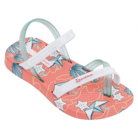 FASHION VI SAND orange and white floral print flat finger sandals for child