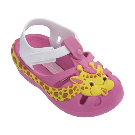 SUMMER V pink and white flat roman sandals for girl