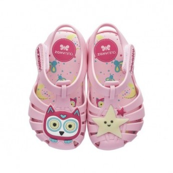 GLOW IN THE DARK pink flat crab sandals for baby