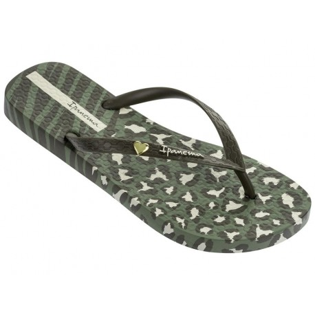ANIMAL PRINT II green animal print flat finger flip flops for woman