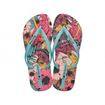 TROPICAL BEAUTY blue and pink floral print flat finger flip flops for woman