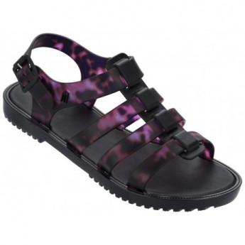 FLOX IV black and pink fantasy print flat roman sandals for woman