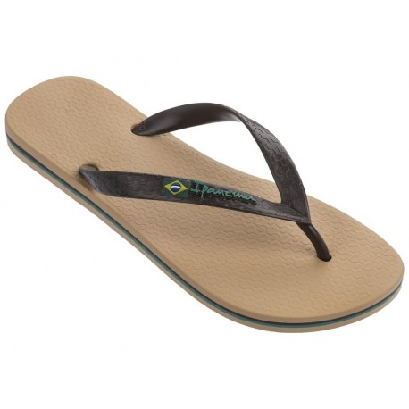 CLAS BRASIL II beige and brown flat finger flip flops for man