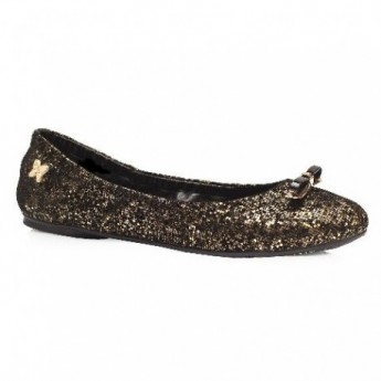 CAROLINE gold flat ballet flats for woman