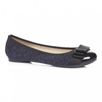 LUCIA navy blue animal print flat ballet flats for woman