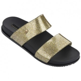 COSMIC black and gold flat shovel sandals for woman