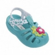 SUMMER IV blue and white flat roman sandals for girl