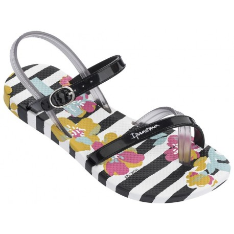 FASHION SAND V black and white floral print flat finger sandals for child
