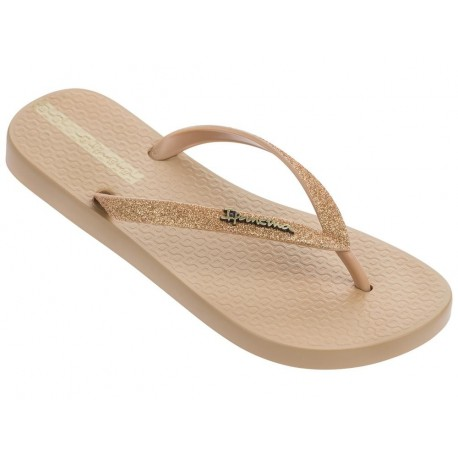 LOLITA III beige and gold flat finger flip flops for woman