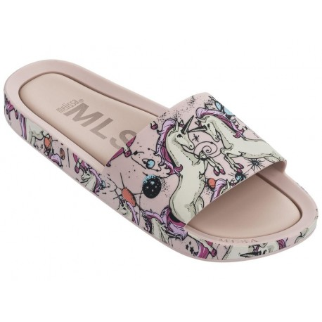 BEACH SLIDE 3DB RAINBOW beige and multicolored fantasy print flat open sandals for woman