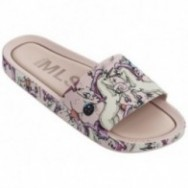 BEACH SLIDE 3DB RAINBOW beige and multicolored fantasy print flat shovel sandals for woman