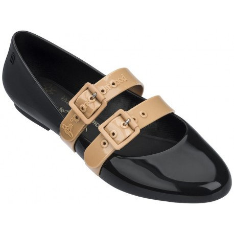 DOLL vivienne westwood beige and black flat closed ballet flats for woman