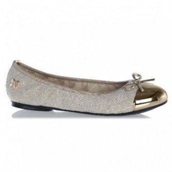 OLIVIA gold and grey flat ballet flats for woman
