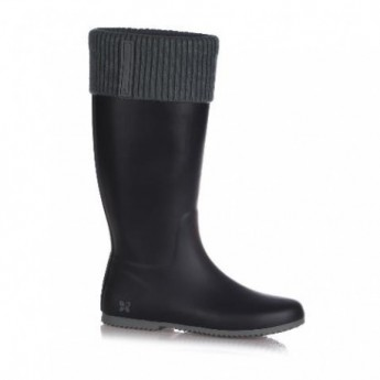 WINDSOR black and grey flat boots for woman