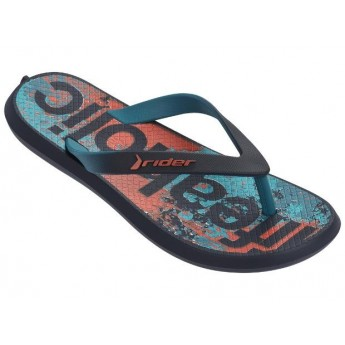 ENERGY IV blue and green urban print flat finger flip flops for child