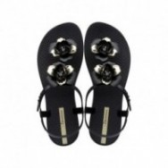 FLORAL cristina pedroche black and gold flat finger sandals for woman