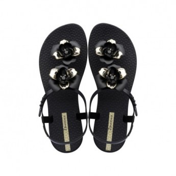 FLORAL black and gold flat finger sandals for woman