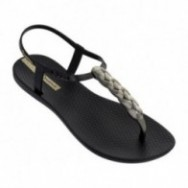 CHARM VI cristina pedroche black and gold flat finger sandals for woman