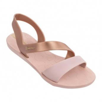 VIBE cristina pedroche gold and pink flat roman sandals for woman