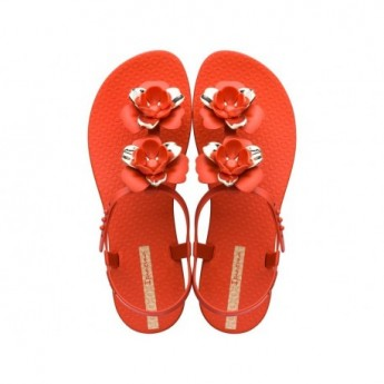 FLORAL cristina pedroche gold and red flat finger sandals for woman