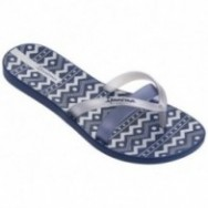 KIREI SILK III blue and silver geometric shapes print flat finger flip flops for woman