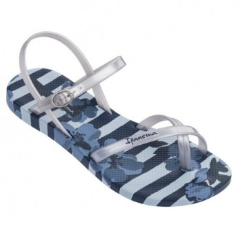 FASHION SAND V blue and silver floral print flat finger sandals for woman