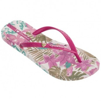 SUMMER pink and white floral print flat finger flip flops for woman