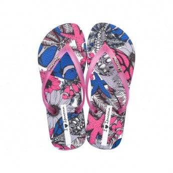 TROPICAL BEAUTY grey and pink tropical print flat finger flip flops for woman