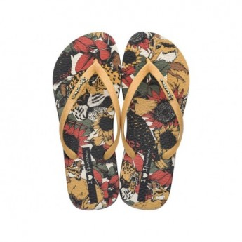 TROPICAL BEAUTY beige and black floral print flat finger flip flops for woman