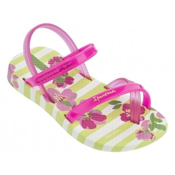 FASHION VI SAND pink and yellow floral print flat finger sandals for child