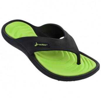 CAPE XII black and green flat finger flip flops for man