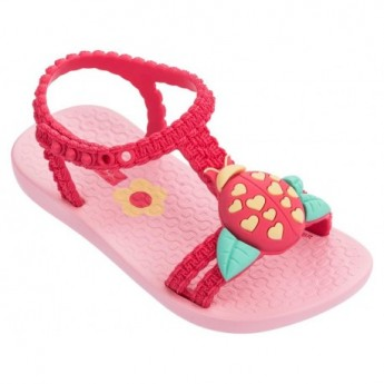 IV pink flat open sandals for baby