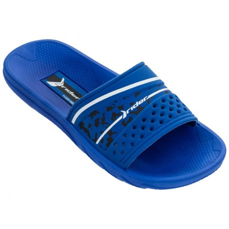 MONTREAL III blue flat shovel flip flops for child