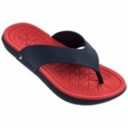 INFINITY II blue and red flat finger flip flops for man