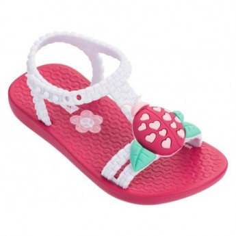 IV pink and white flat open sandals for baby
