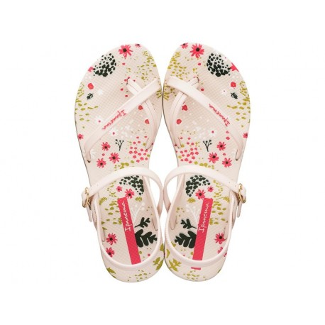 FASHION SAND VI F beige floral print flat finger sandals for woman